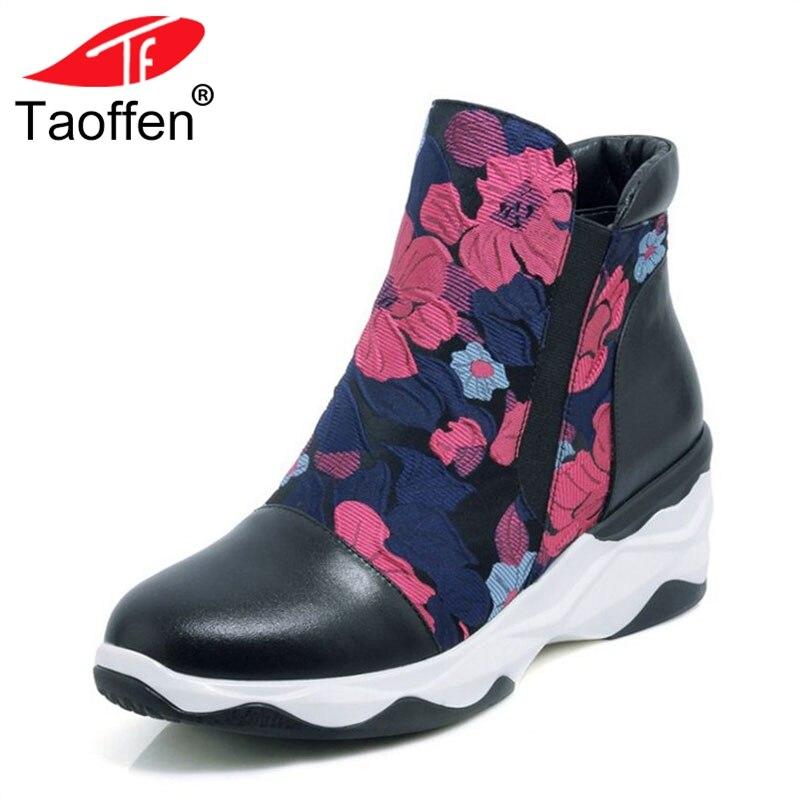 TAOFFEN Ladies Ankle Boots Platform Print Wedges Genuine Leather Short Botas Retro Ornate Shoes Woman Footwear Size 34-39 ornate print textured skirt