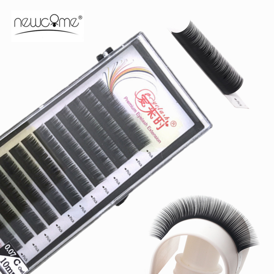 NEWCOME 12Rows/lot Premium Eyelash Extension Single&Mix Length Classic Individual Eyelashes False Eyelashes Mink Lash Extension