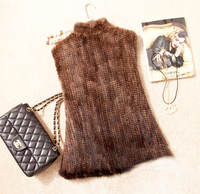 Hot Sale 2015 New Spring Natural Women Genuine Real Knitted Mink Fur Vest Short Jackets Waistcoats