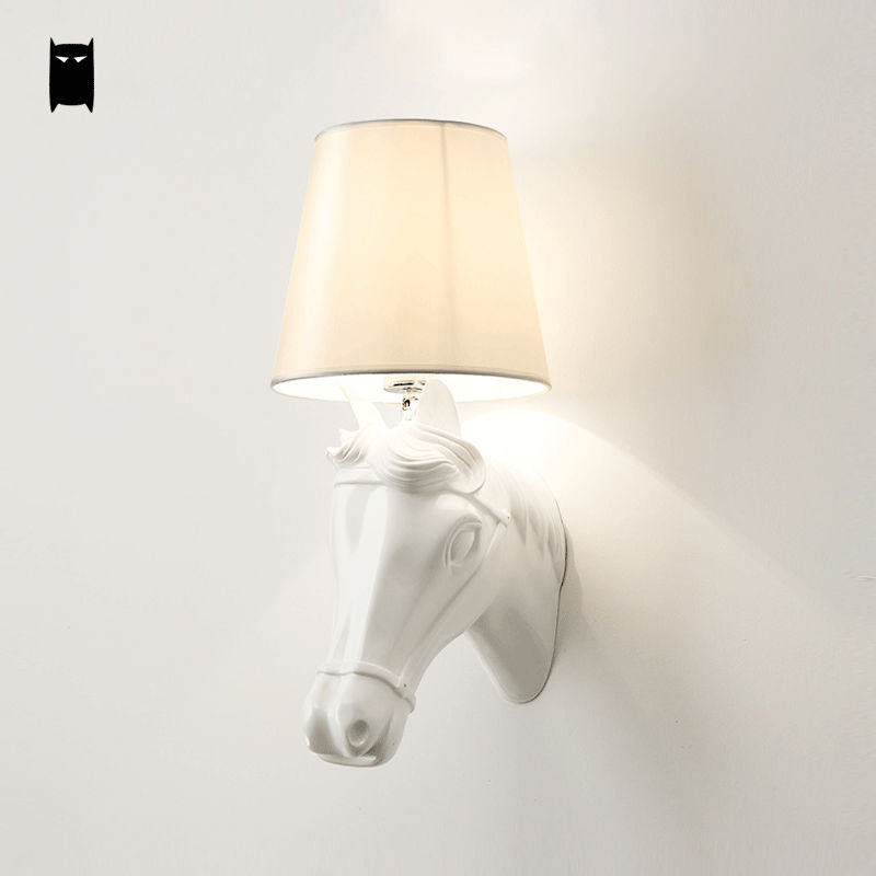 Black White Horse Head Wall Lam Fixture Modern Industrial Vintage Retro Style Sconce Light Luminaria Living Room Bedroom Bedside