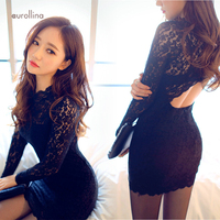 Black Hollow Out Lace Dress Charming Female Curve Party Outfit Air Hostess Uniform Japanese Mature Teachers Formal Mini Skirt