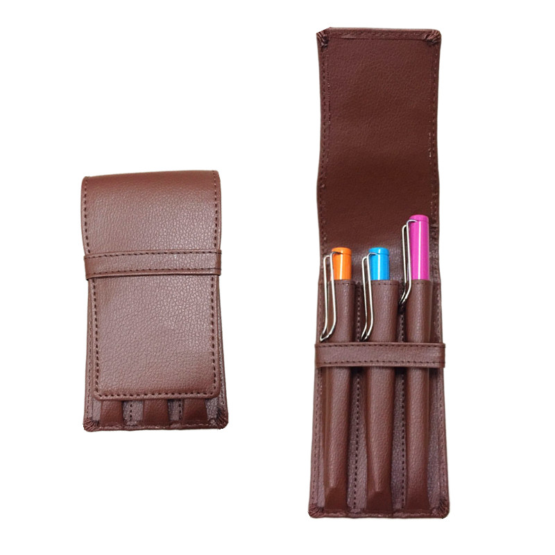 Most popular Lichee pattern exquisite carving pattern PU leather pen case brown gift pen case accommodates 3 pcs pen