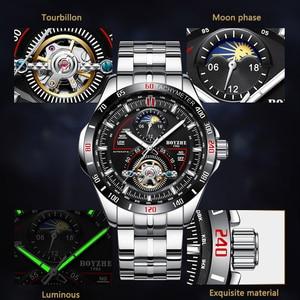 Image 5 - BOYZHE hommes automatique mécanique haut tendance marque montres de sport de luxe Tourbillon Phase de lune en acier inoxydable montre horloge saat