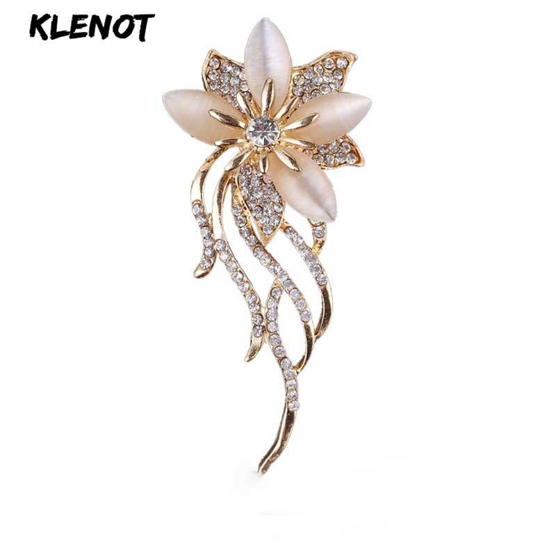 Broche feminino de flores, elegante, floral, strass, buquê de casamento, olho de gato, opala, pedra, pinos de flores, broches para mulheres, jóias para festa