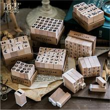 1set Vintage alfabeto número carácter sello DIY de madera de goma sellos para álbum de recortes papelería decoración estándar sello