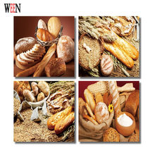 WEEN HD Printed Bread Wall Picture Framed directly Hang For Living Room 4Pc Food Cuadros Decoracion Canvas Art 2017 Poster Gift(China)