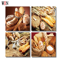WEEN HD Printed Bread Wall Picture Framed directly Hang For Living Room 4Pc Food Cuadros Decoracion Canvas Art 2017 Poster Gift