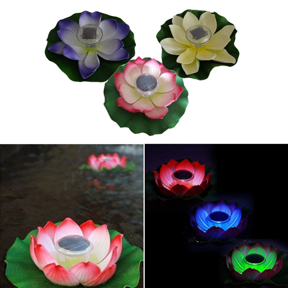 Hot Sale Practical Garden Pool Floating Lotus Solar Light Night Flower Lamp for Pond Fountain Decoration Solar Lamps for Party