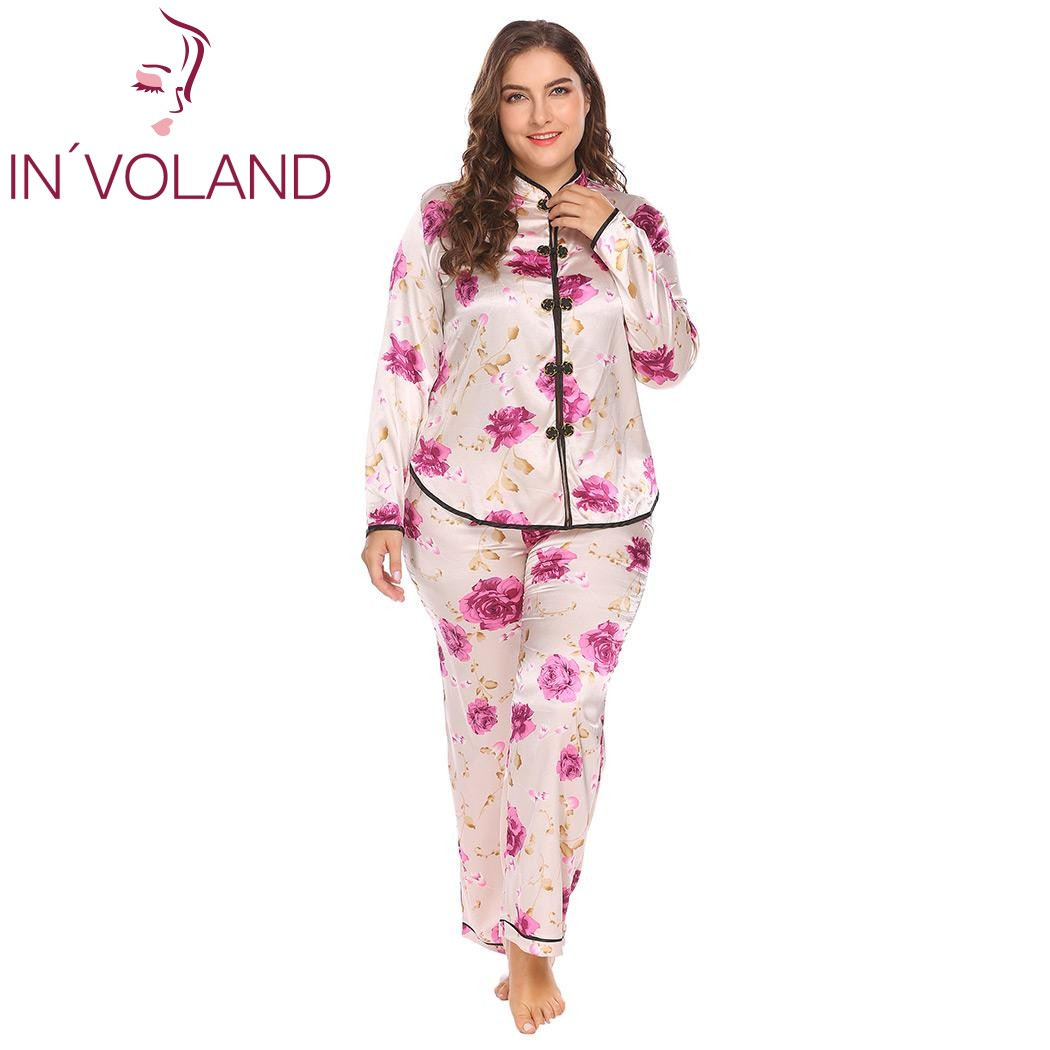 IN'VOLAND Large Size Women Pajama Set L-4XL Satin Sleepwear Lounge Nightwear Stand Color Long Sleeve Floral Top Pants Plus Size
