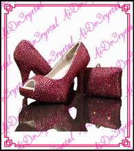 Aidocrystal red crystal allaround open toe high heels red wedding dress pumps shoes and matching bag