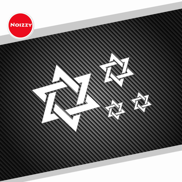 Noizzy 1 set hexagram ho star of david car sticker vinyl auto decal reflective white window