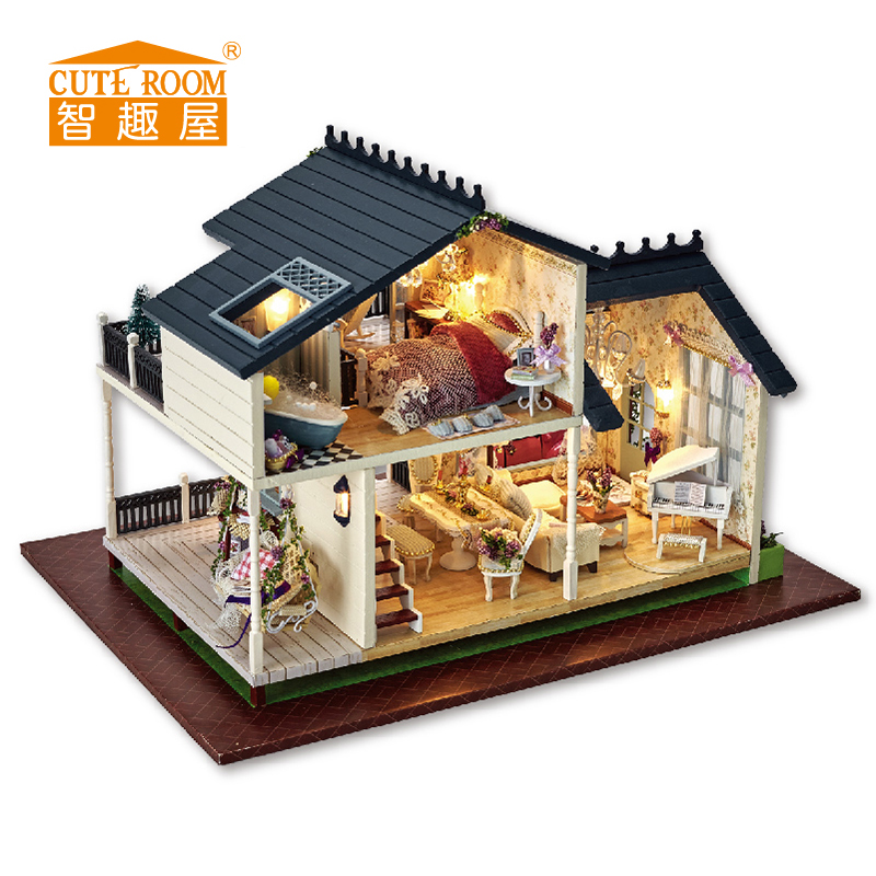 DIY Wooden House Miniaturas with Furniture DIY Miniature House Dollhouse Toys for Children Christmas and Birthday Gift A32 diy wooden house miniaturas with furniture diy miniature house dollhouse toys for children christmas and birthday gift a28