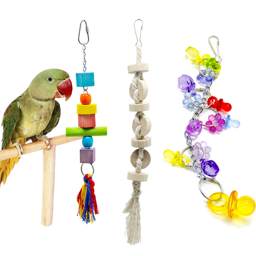 PipiFren Toys For Parrot Bird Budgie wood cage Perch Swing Parakeet Toys African Grey Accessories parkiet vogel speelgoed