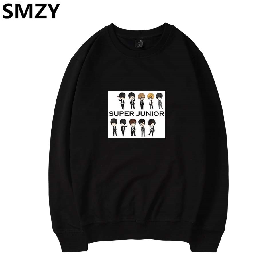 SMZY Super Junior Capless Long Hoodie Sweatshirt Women Winter Korea Pop Hip Hop Hoodies Women Cotton Fashion Kpop Fans Clother