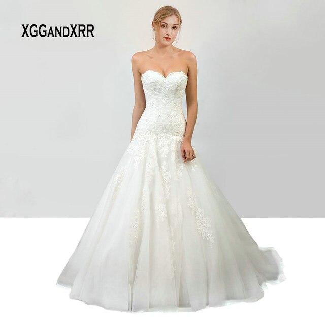 Luxury Lace Mermaid Wedding Dress 2019 White Bridal Gown Off Shoulder Backless Sweetheart Applique vestido de noiva gelinlik