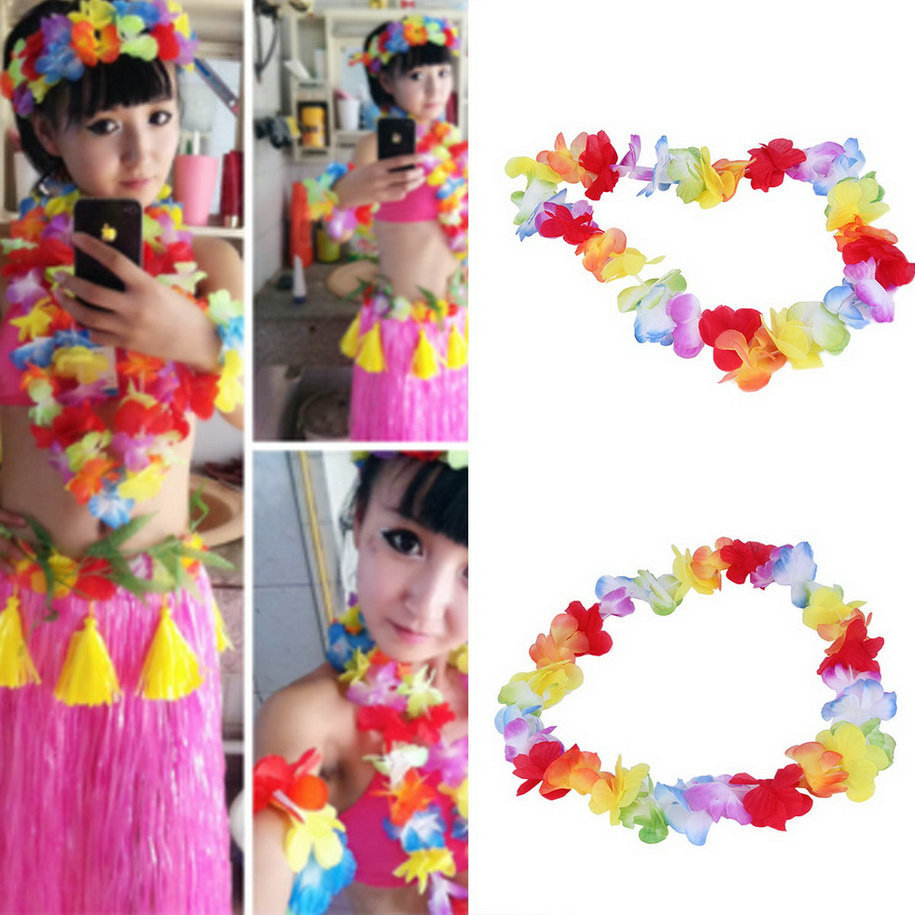 1pc Colorful Flower Garlands HawaiianTropical Party Fancy Dress Necklace Circumference 96cm 2017 New Arrival Garlands Necklace