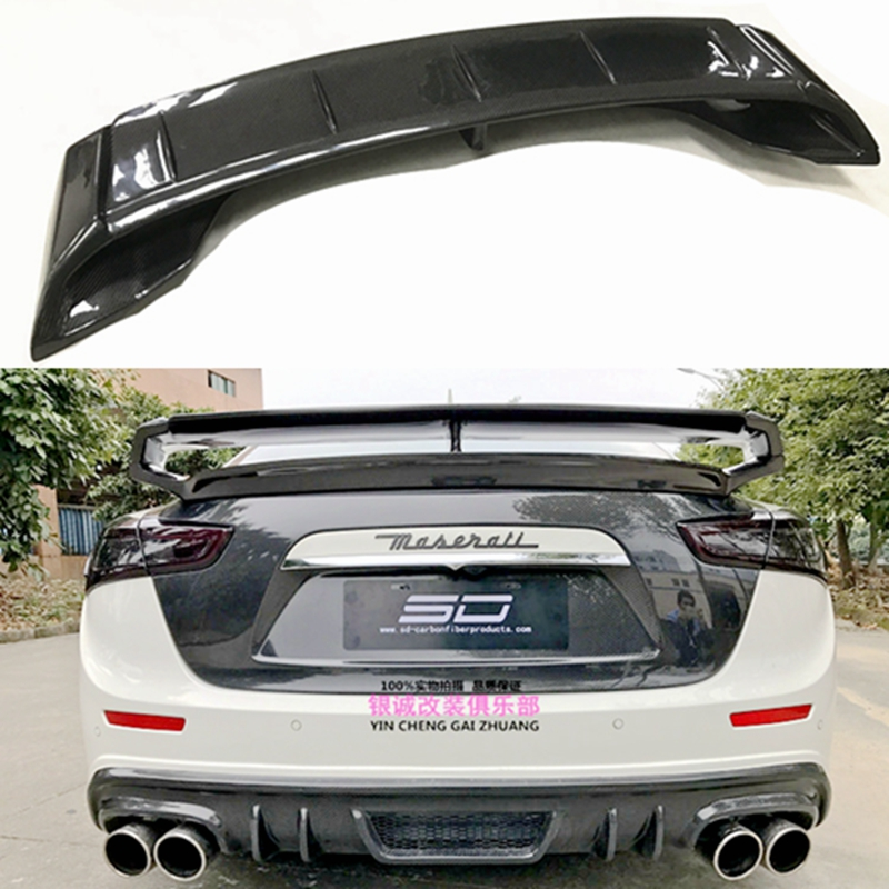 For Maserati Ghibli carbon fiber and FRP unpainted rear spoiler rear luggage wing GT style for Ghibli Carbon rear spoiler 2014 + maserati granturismo carbon spoiler