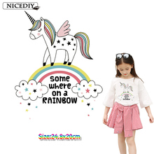 Nicediy Kawaii Rainbow Unicorn Iron-On Heat Transfers For Clothes Cartoon Ironing Stickers Stripe On Iron Patches DIY