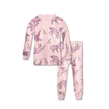 Купить с кэшбэком Long Johns Kids for Winter Thermal Underwear Cotton Cartoon Unicorn Home Wear Lomg Johns Children Pajamas for Girl Set 2018