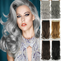 24 inch длинные волнистые наращивание волос серый клип в наращивание волос cabelo волос