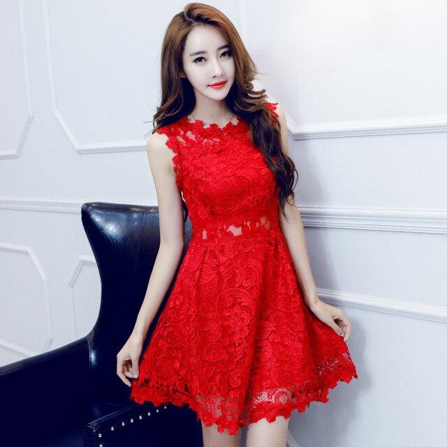 0b7f32c3de9 2019 новые летние Красное Кружевное Платье Для женщин без рукавов  Повседневное ретро сексуальные Сарафан мини с