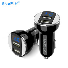 RAXFLY Car Smart Charger Dual USB Cigarette Lighter For iphone Samsung 5V/2.4A Digital LED Display Truck Phone Charger Adapter(China)