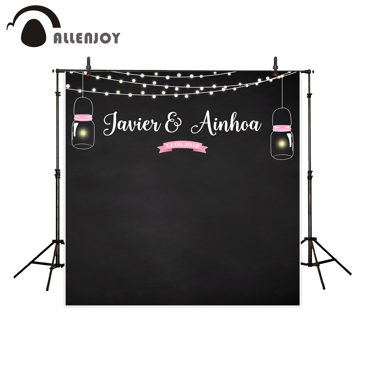 Allenjoy backgrounds for photography studio black shiny firefly pink Banner wedding customize backdrop photocall original design