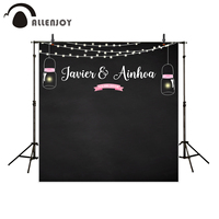 Allenjoy Backgrounds For Photography Studio Black Shiny Firefly Pink Banner Wedding Customize Backdrop Photocall Original Design
