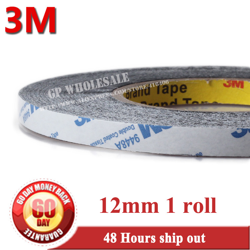 12mm * 50 meters 3M 9448 Black Double Sided Adhesive Tape Sticky for Cellphone LCD Display Touch Screen Repair / Logo Adhesive 1x 76mm 50m 3m 9448 black two sided tape for cellphone phone lcd touch panel dispaly screen housing repair