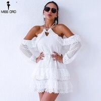 Missord 2018 Frauen Sexy schulterfrei v-ausschnitt Weiblichen Sommer spitze Kleid Backless Elegante Minikleid FT9380