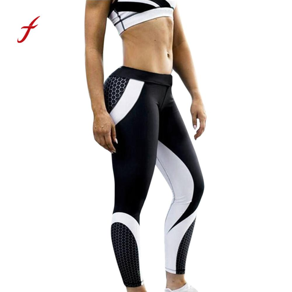 New Womens 3D Printed honeycomb Skinny Workout Leggings Cropped Pants fitness high waist leggings Black legging for women
