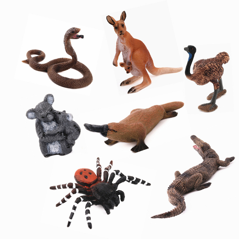 REikirc 7PCS/Set Australian Animals Spider Koala Kangaroo Crocodile Ostrich Snake Platypus Model Figurine Toy For Chidren Gift