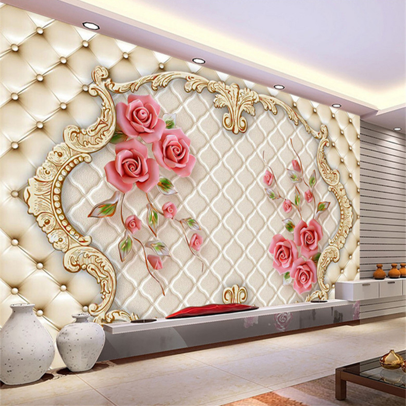 3D Wallpaper Modern Stereo Rose Soft  3D Wall Murals for Living Room Bedroom Sofa TV Background Non-Woven Fabric Wall Paper custom photo mural modern minimalist 3d white rose non woven wallpaper for living room sofa background 3d wall murals wallpaper