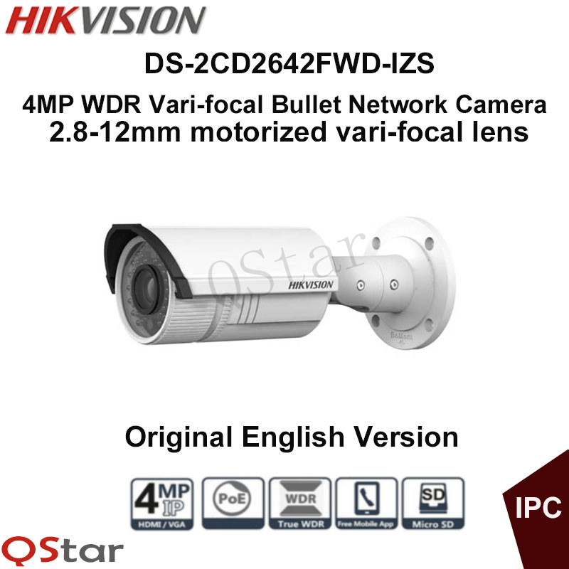 Hikvision Original English Version DS-2CD2642FWD-IZS 4MP WDR Vari-focal Motorized Bullet Network IP Camera POE CCTV Camera видеокамера ip hikvision ds 2cd2642fwd izs цветная