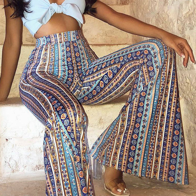 Womens Striped Boho Flare Pants