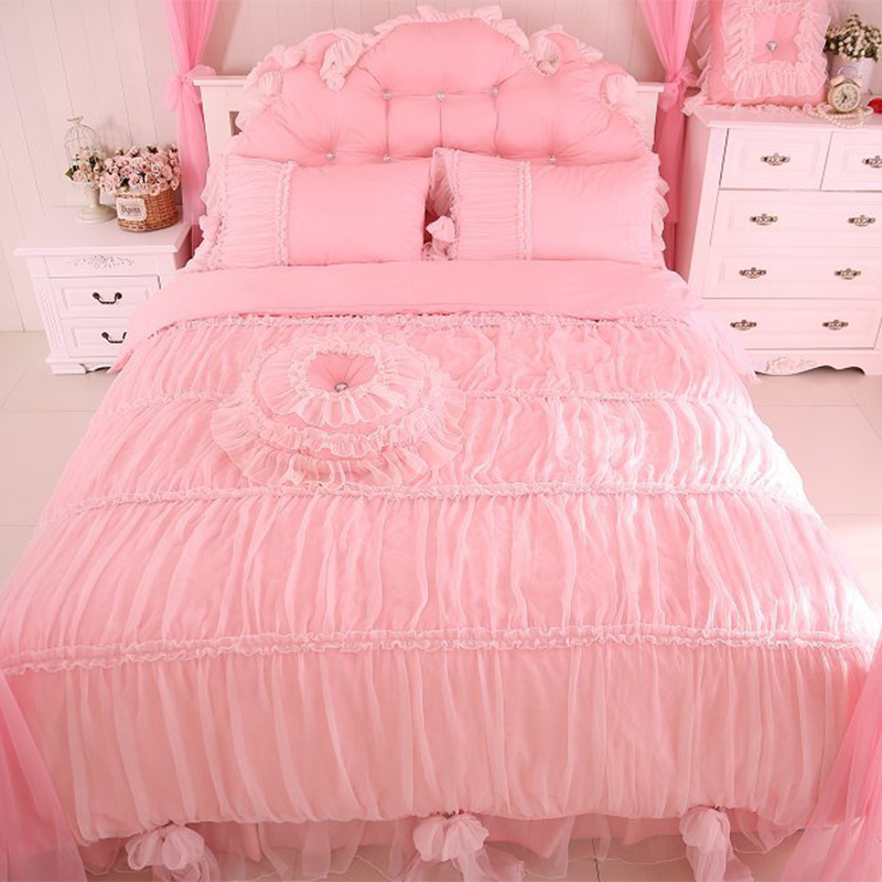 2017 Princess style luxury lace king size bedding set cotton 4/6pcs contain pillowcase duvet cover bed skirt very comfortable 2017 Princess style luxury lace king size bedding set cotton 4/6pcs contain pillowcase duvet cover bed skirt very comfortable