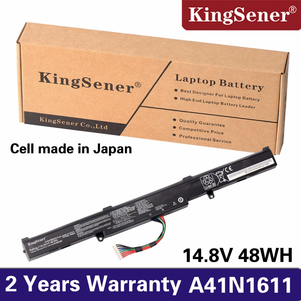 KingSener Japanese Cell New A41N1611 Laptop Battery For ASUS ROG GL553 GL553VD GL553VE GL553VW Series A41LK5H A41LP4Q 14.4V 48WH ноутбук asus rog gl553vd dm203 90nb0dw3 m05790