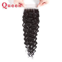 Queen Hair Deep Wave Peruvian Human Hair Weave Free/Middle Part Lace Closure With Baby Hair Mix 3Bundles For Full Head Remy Hair