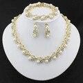 2016 Classic Perlas De Imitación Cristalino Claro Plateado Oro Top Elegante Del Regalo Del Partido Traje de la Manera Joyería de Perlas Sets0