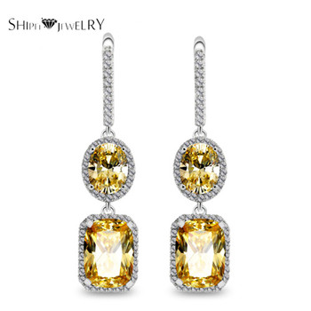 Women's Drop Earrings w/ Cubic Zirconia Platinum Plated