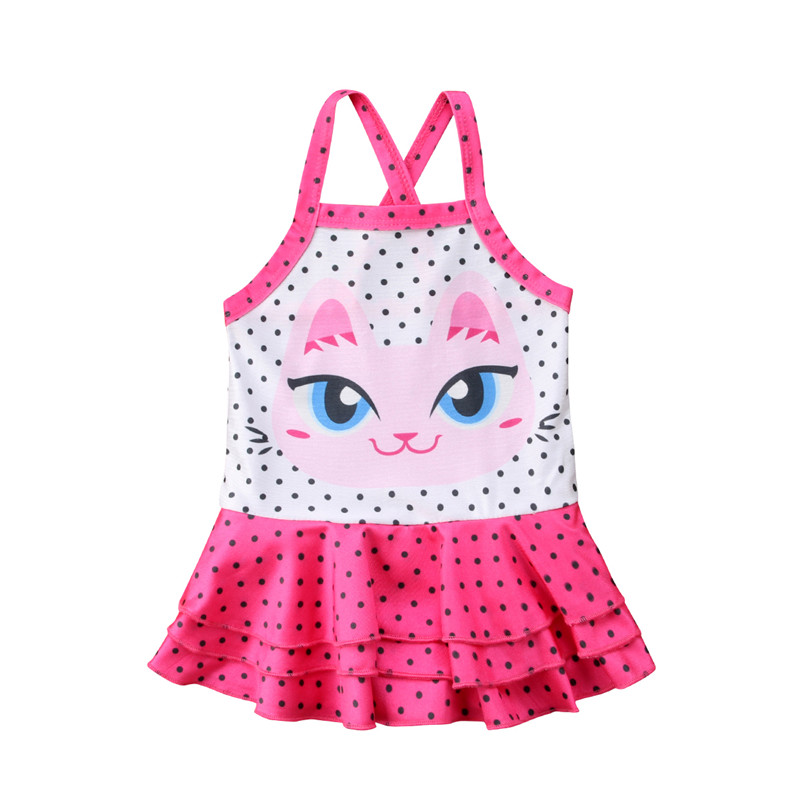Cartoon Cat Kids Baby Girls Tutu Ruffle Swimsuit Bikini Swimwear Bathing Suit Beachwear 1 5T One -6210