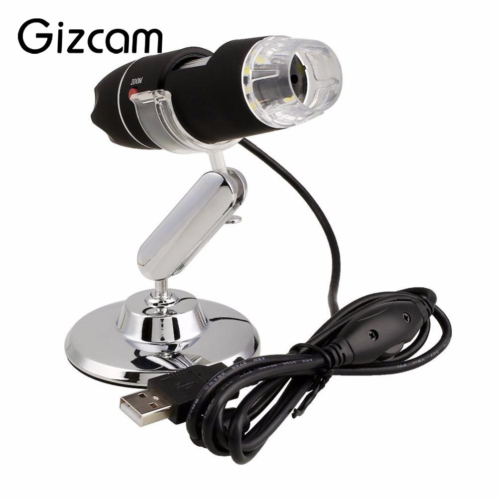 Gizcam Praktische Elektronik 2MP USB 8 LED Digitalkamera Mikroskop Endoskop Lupe 50X ~ 500X Messen ABS + alloy Mini Kamera