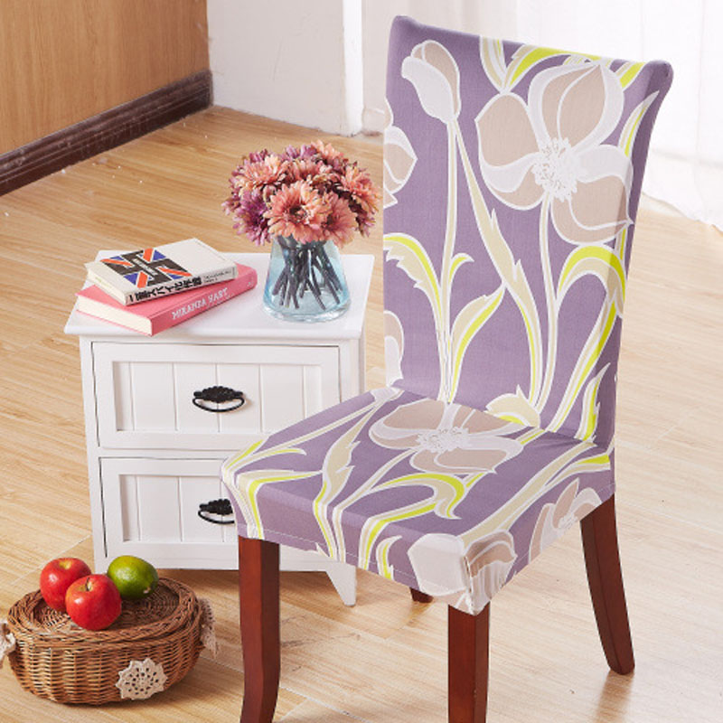 Tulip Flower Printed Chair Cover Stuhlhussen Hochzeit Housse De Chaise Lycra Stretch Dining