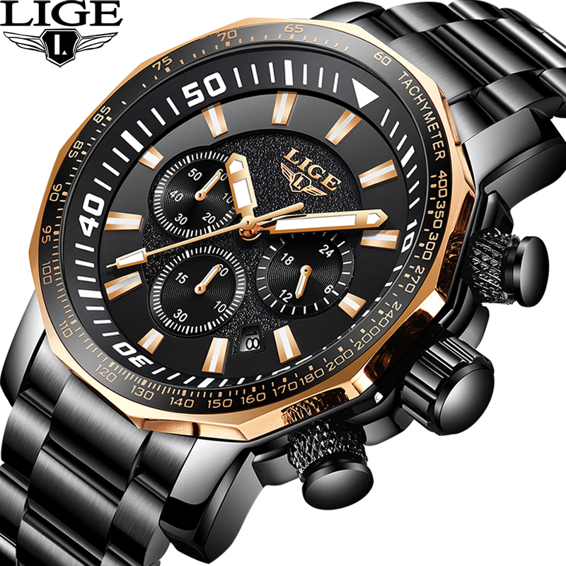 LIGE Top Luxury Brand Mens Waterproof Quartz Watches Business Big Dial Fashion Casual Sprot Full Black Men Wristwatch image