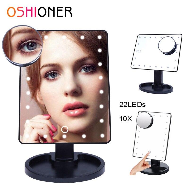 OSHIONER regulable LED espejo de 16/22 bombillas de luz iluminado vanidad belleza cosmética espejo con 10x espejo de aumento
