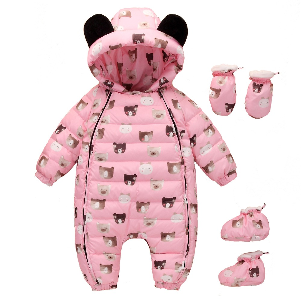 Newest Christmas Baby Rompers Duck Down Winter Overalls Thick Warm Jumpsuit 2017 Newborn Clothes Infant Boys Girls Outwear baby clothes baby rompers winter christmas costumes for boys girl zipper rabbit ear newborn overalls jumpsuit children outerwear