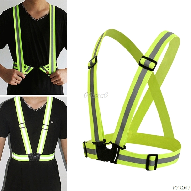 High Visibility Neon Reflective Belt Safety Vest For Running Cycling Sports 360 Degrees Outdoor Clothes Protective Gears
