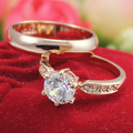 New Free Shipping Italina Rigant  Jewelry Wholesale Rose gold plated Crystal Ring Fashion Couple Rings  wedding ring Gift