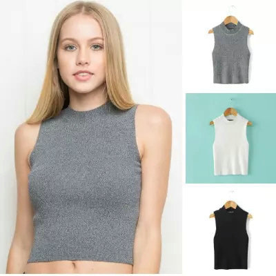 AA solid color high neck knit little vest Western high waisted stretch navel-baring crop tops femininas tanks free shipping