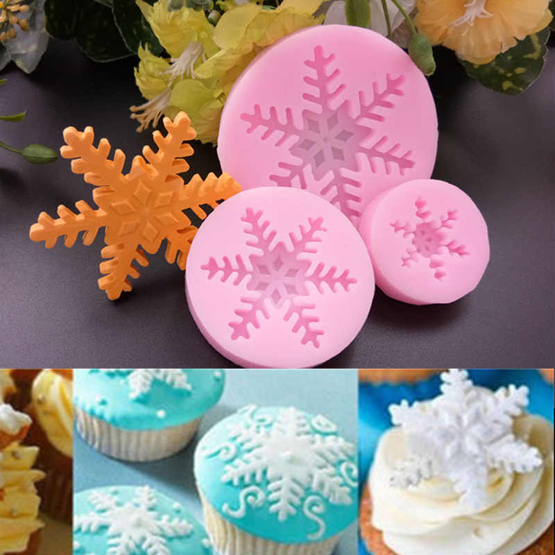 Silicone Mold 3D Snow Flake Form Chocolate Candy Jello Soap Mold Cake Decoration Tools Fondant Moulds Kitchen Pastry Baking Mold